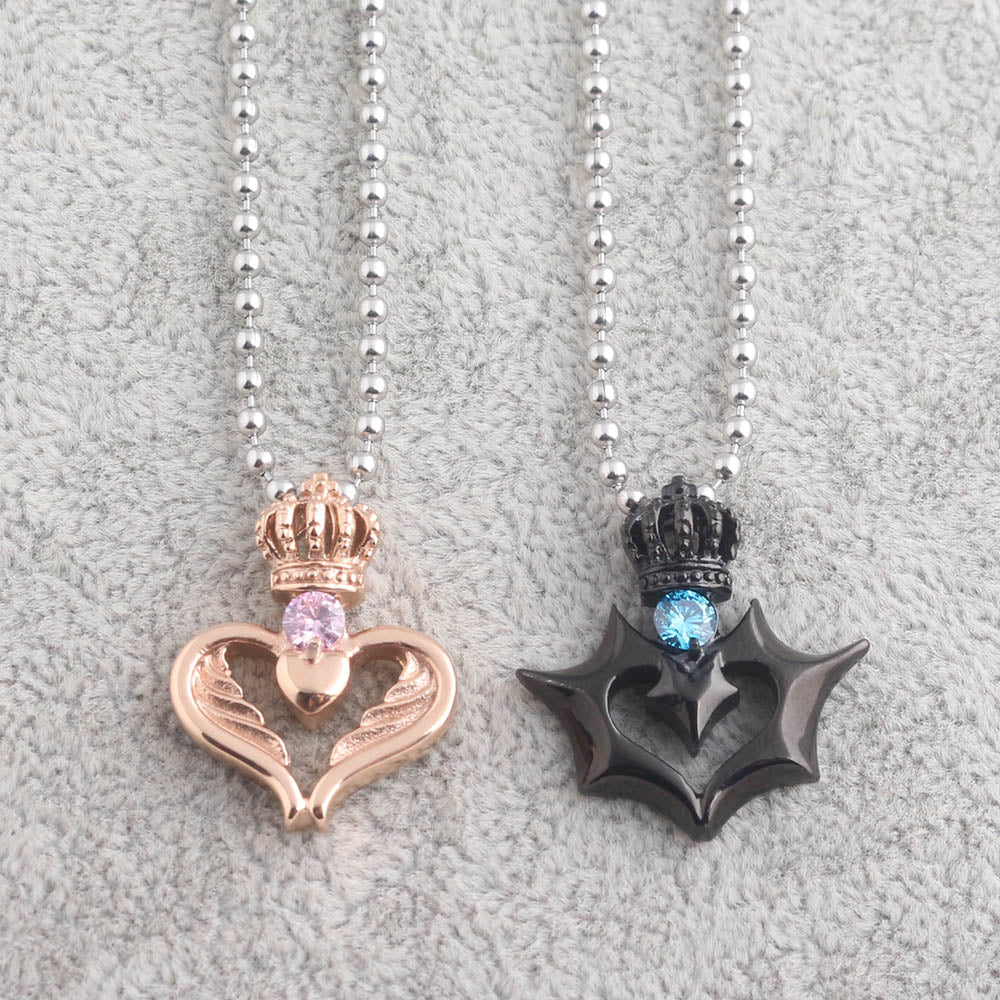 Angel and Devil Crown Couple Necklace - The Creative Booth
