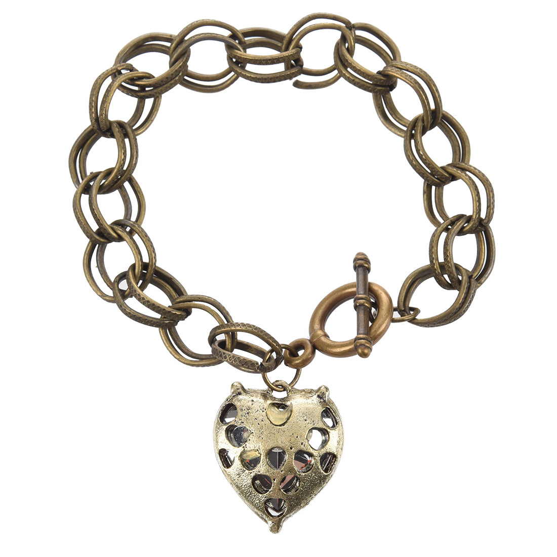 Antique Red Stone Heart Angel Wings Bracelet - 65% OFF - The Creative Booth