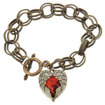 Antique Red Stone Heart Angel Wings Bracelet - The Creative Booth