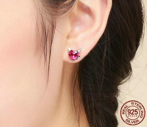 Pink Angel And Devil Heart Stud Earrings - 30% OFF + FREE SHIPPING