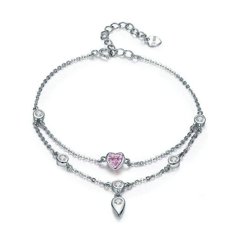 Pink Sweet Heart Double Layer Bracelet