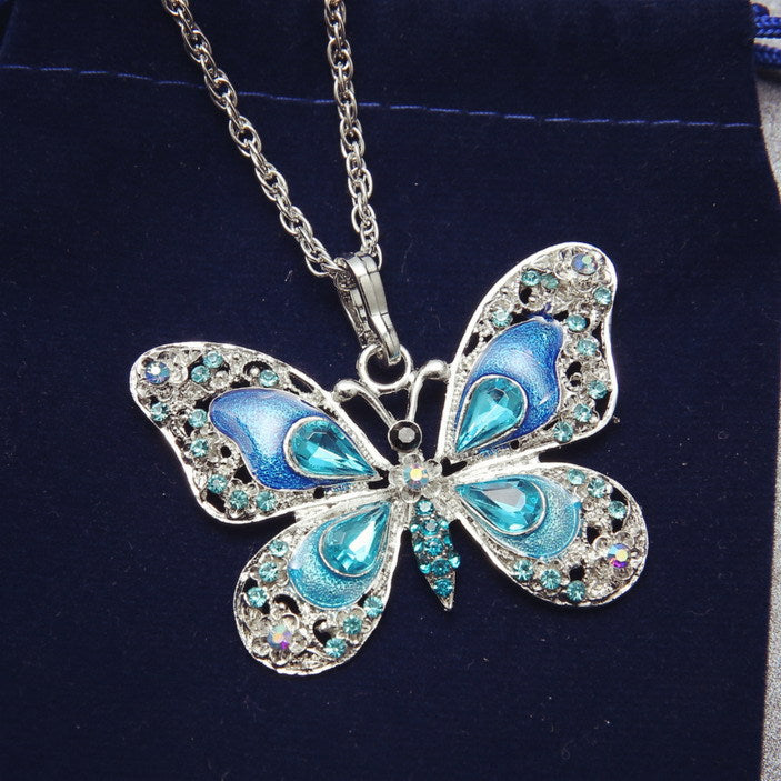 Rhinestone Butterfly Pendant - The Creative Booth