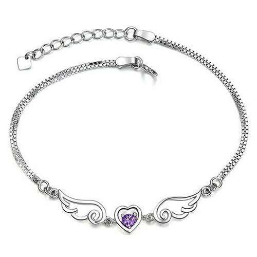 Angel Wings Sparkling Stone Heart Bracelet - 35% OFF! - The Creative Booth