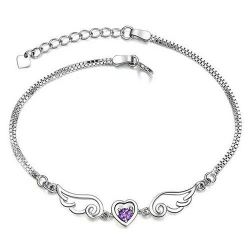 Angel Wings Sparkling Stone Heart Bracelet - 60% OFF! - The Creative Booth