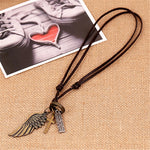 Vintage Cross Angel Wing Necklace
