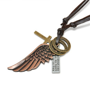 Vintage Cross Angel Wing Necklace - 65% Off!