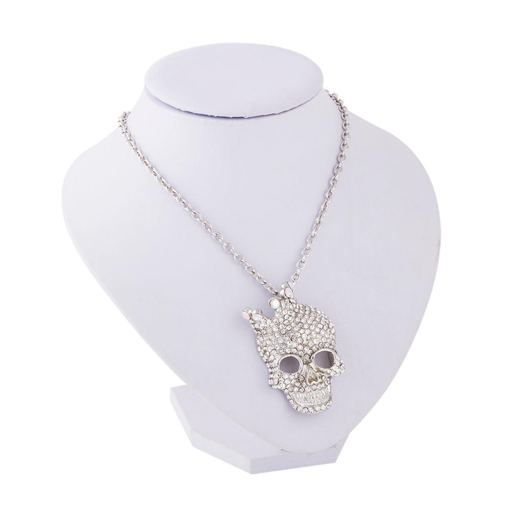 Crystal Rhinestone Skull Necklace - The Creative Booth