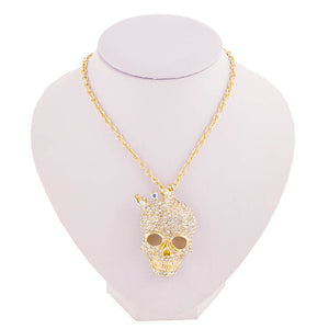 Crystal Rhinestone Skull Necklace - 50% OFF + FREE SHIPPING - The Creative Booth