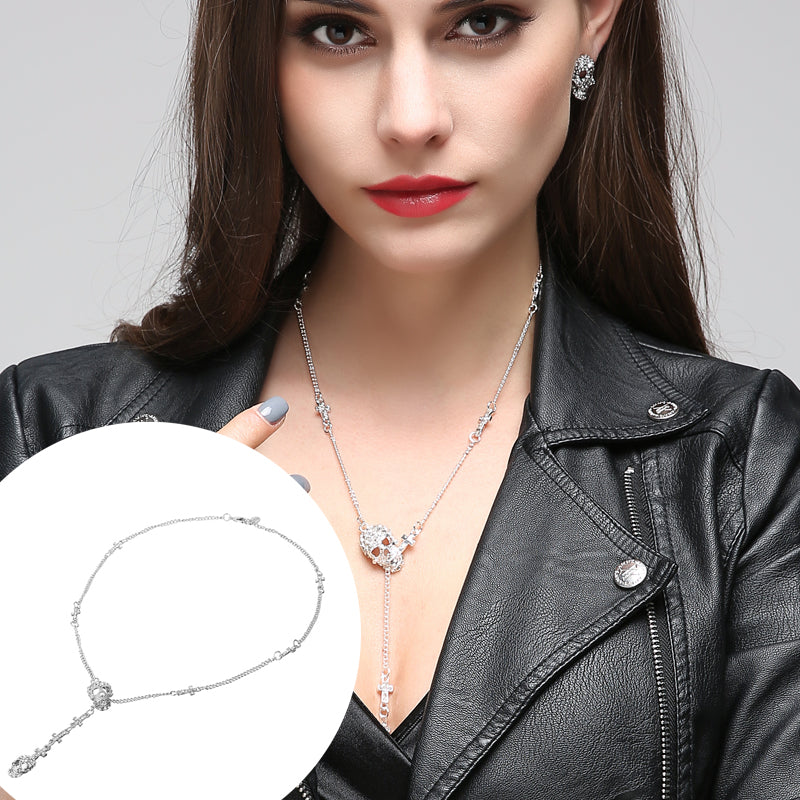 Skull Cross Crystal Pendant Necklace - 30% OFF + FREE SHIPPING