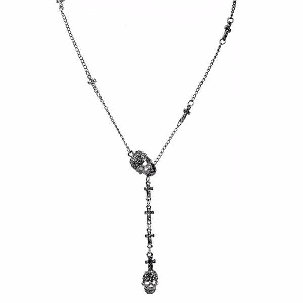 Skull Cross Crystal Pendant Necklace - 60% OFF!