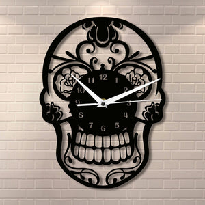 Floral Candy Skull Wall Clock - 50% OFF + FREE SHIPPING - The Creative Booth