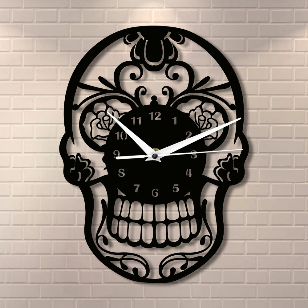 Floral Candy Skull Wall Clock - The Creative Booth