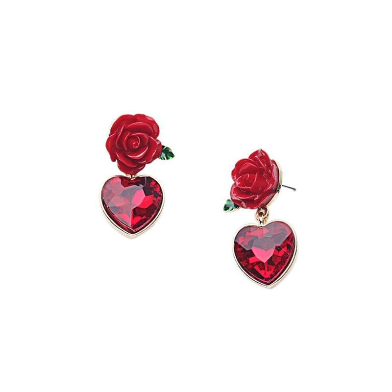 Lovely Hearts and Roses Earrings