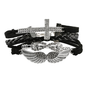 Cross Angel Wings Leather Bracelet - The Creative Booth