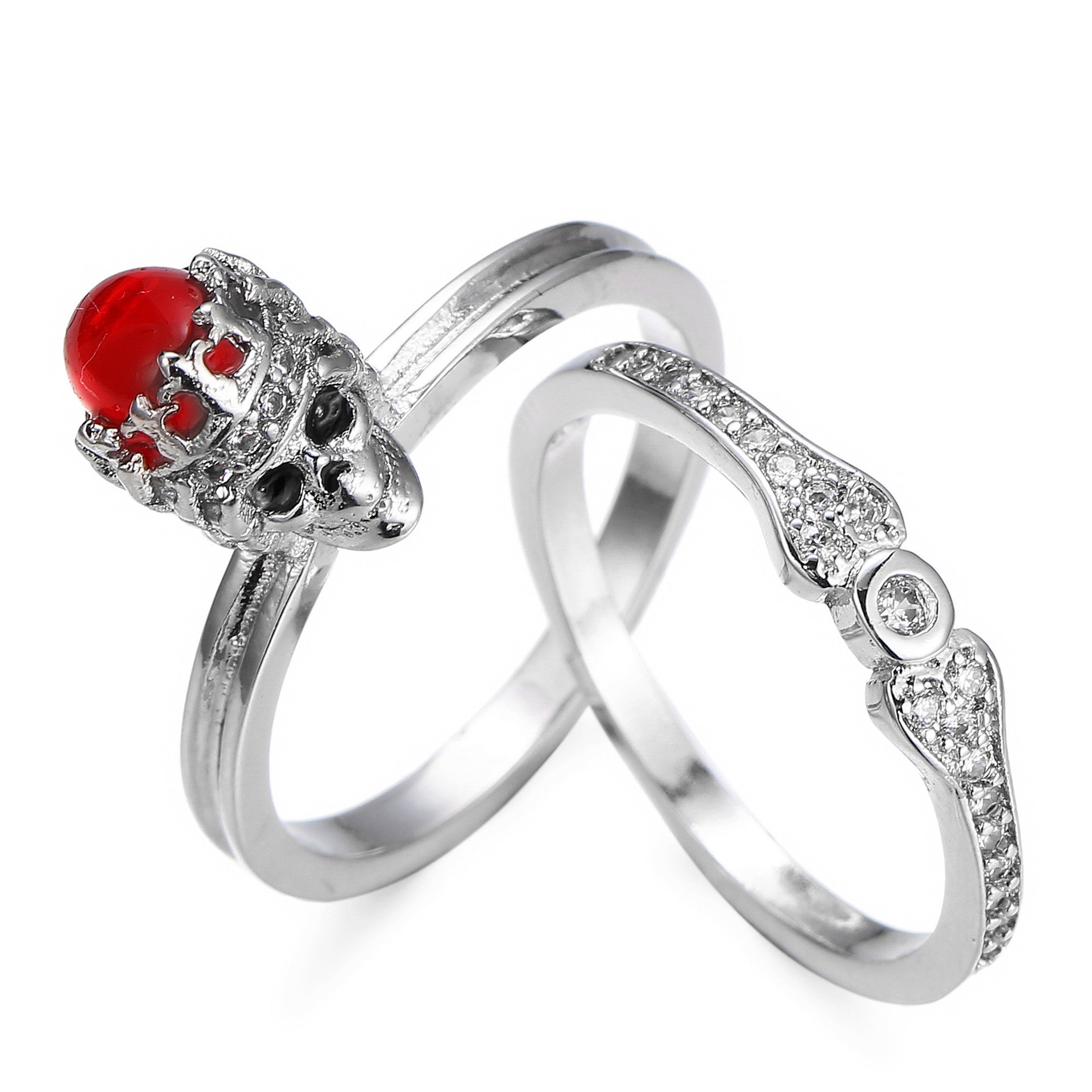 Vintage Crystal Red Skull Crown Ring - 35% OFF + FREE SHIPPING