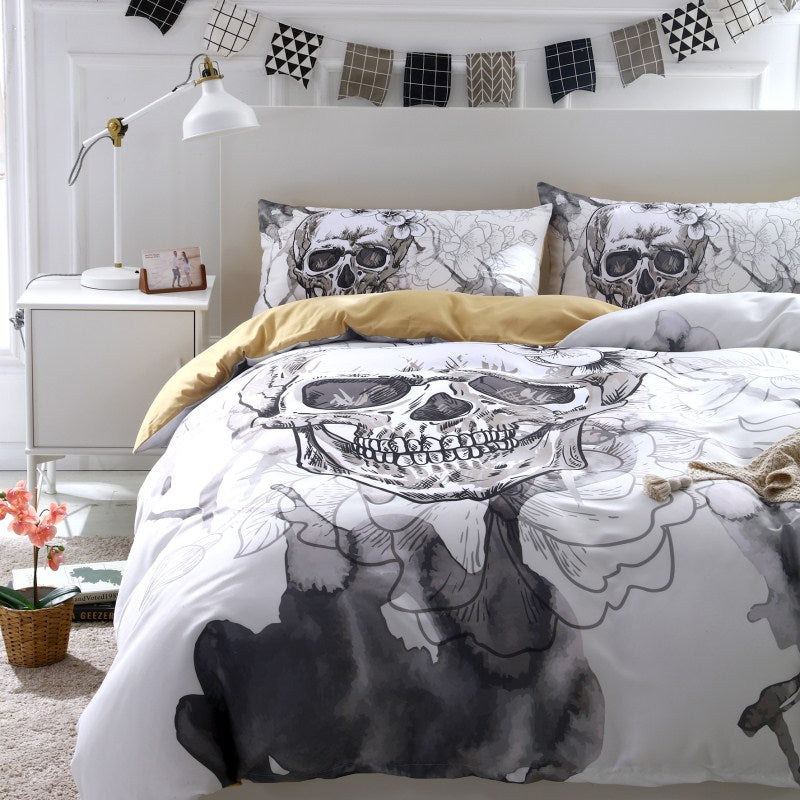 3D Flower Skull Bed Cover With Pillowcase - 50% OFF + FREE SHIPPING - The Creative Booth