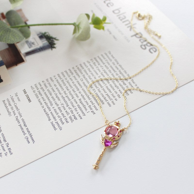 Magical Wand Heart Wings Pendant Necklace