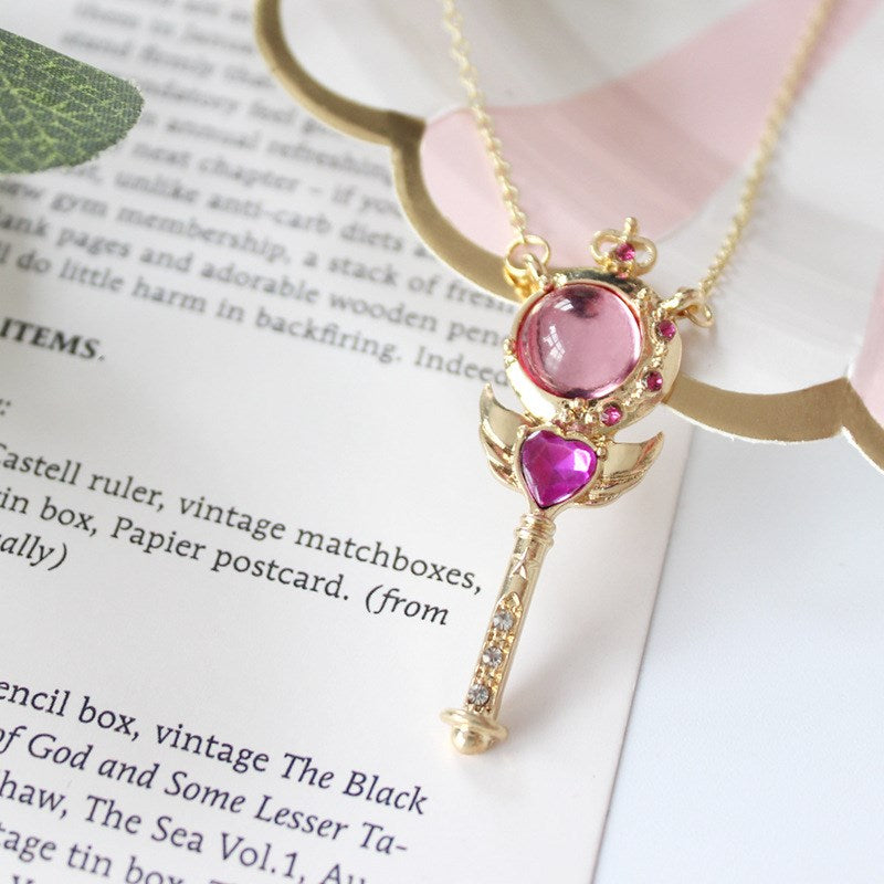 Magical Wand Heart Wings Pendant Necklace - 65% OFF