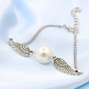 Pearl Angel Wings Charm Bracelet - The Creative Booth