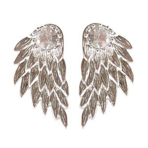 Angel Wings Rhinestone Stud Earrings - The Creative Booth