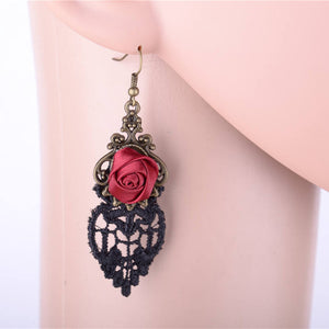 FREE! Rose Drop Lace Tassel Earrings - The Creative Booth