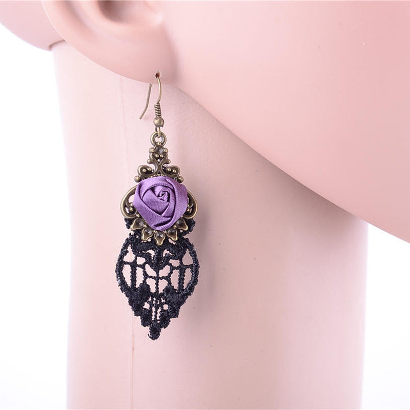 Rose Drop Lace Tassel Earring - The Creative Booth