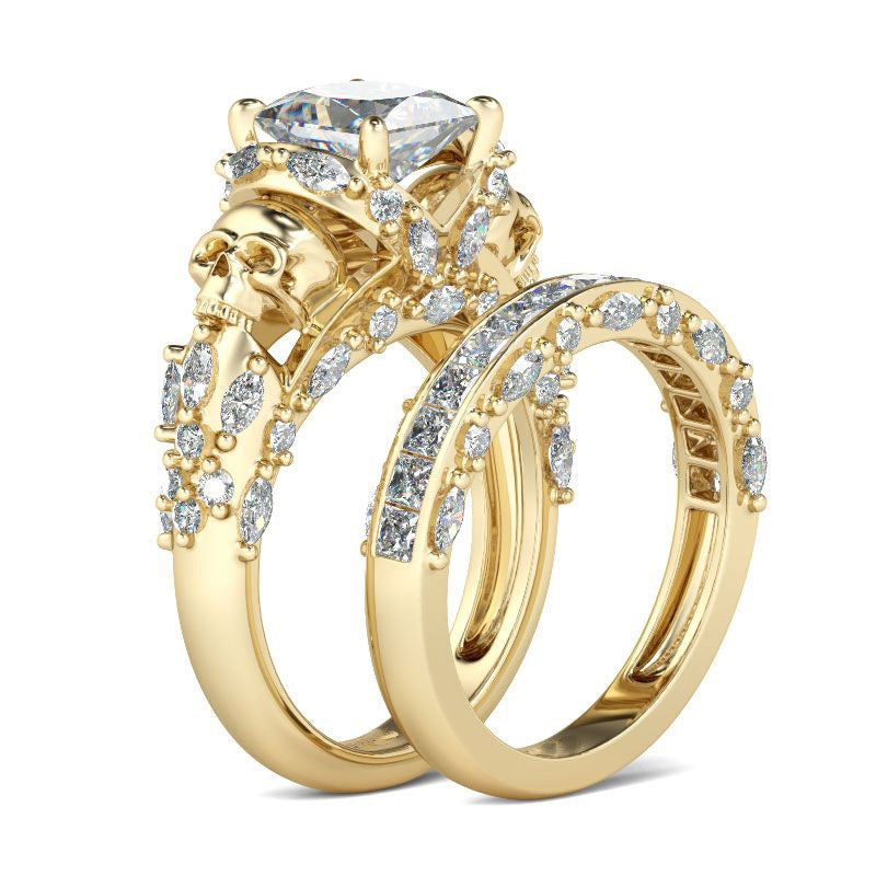 Luxurious Golden Skull Double Ring Set - 30% Off! - The Creative Booth