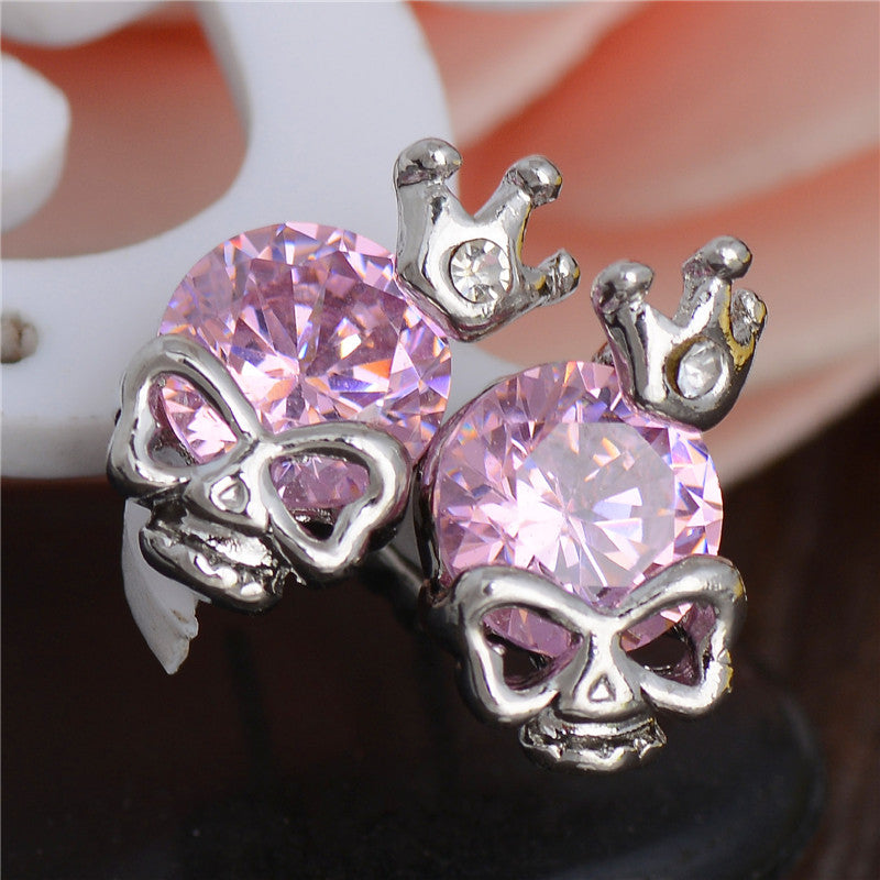 Silver Skull Crown Stud Earrings - 55% Off