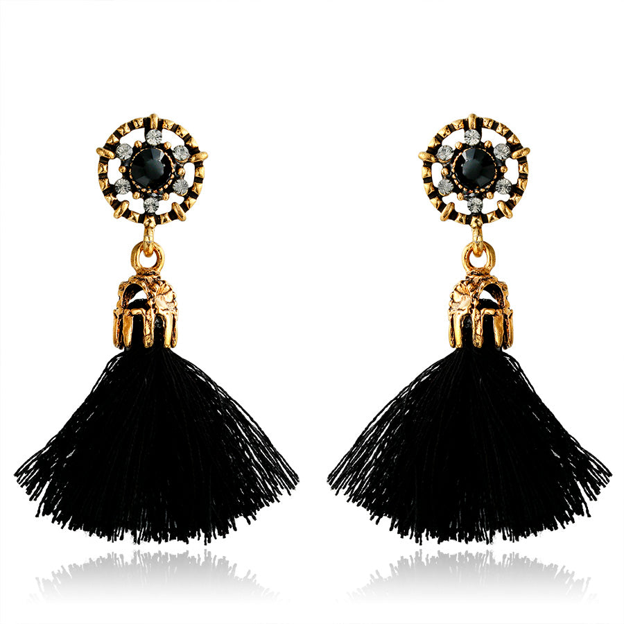 FREE! Fringed Drop Crystal Tassel Earrings - The Creative Booth