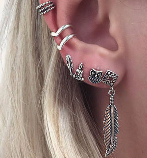 6 pieces - Silver Ethnic Bohemian Earrings Set - The Creative Booth