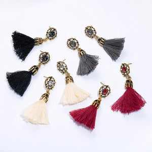 Fringed Drop Crystal Tassel Earrings - The Creative Booth