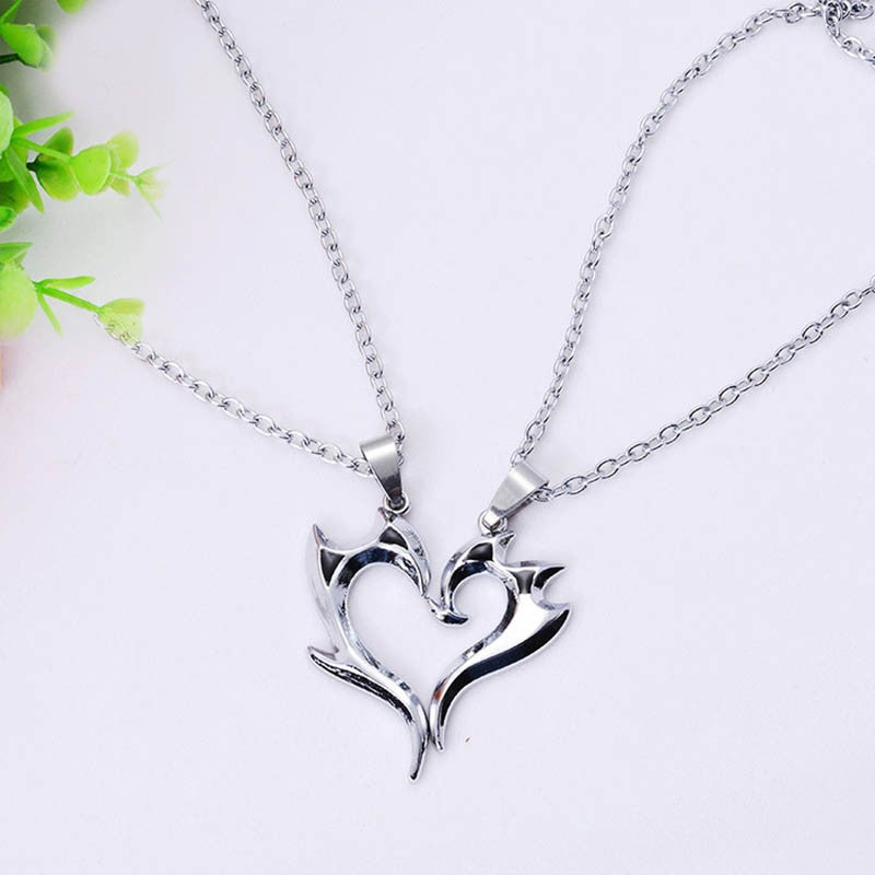 Stainless Steel Heart Pendant Couple Necklace - 65% OFF
