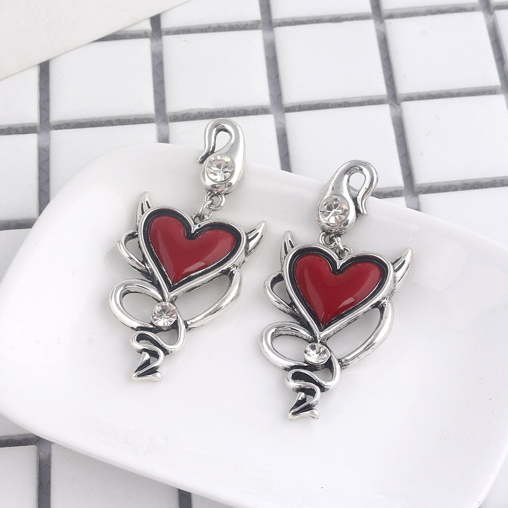 Red Heart Gothic Earrings
