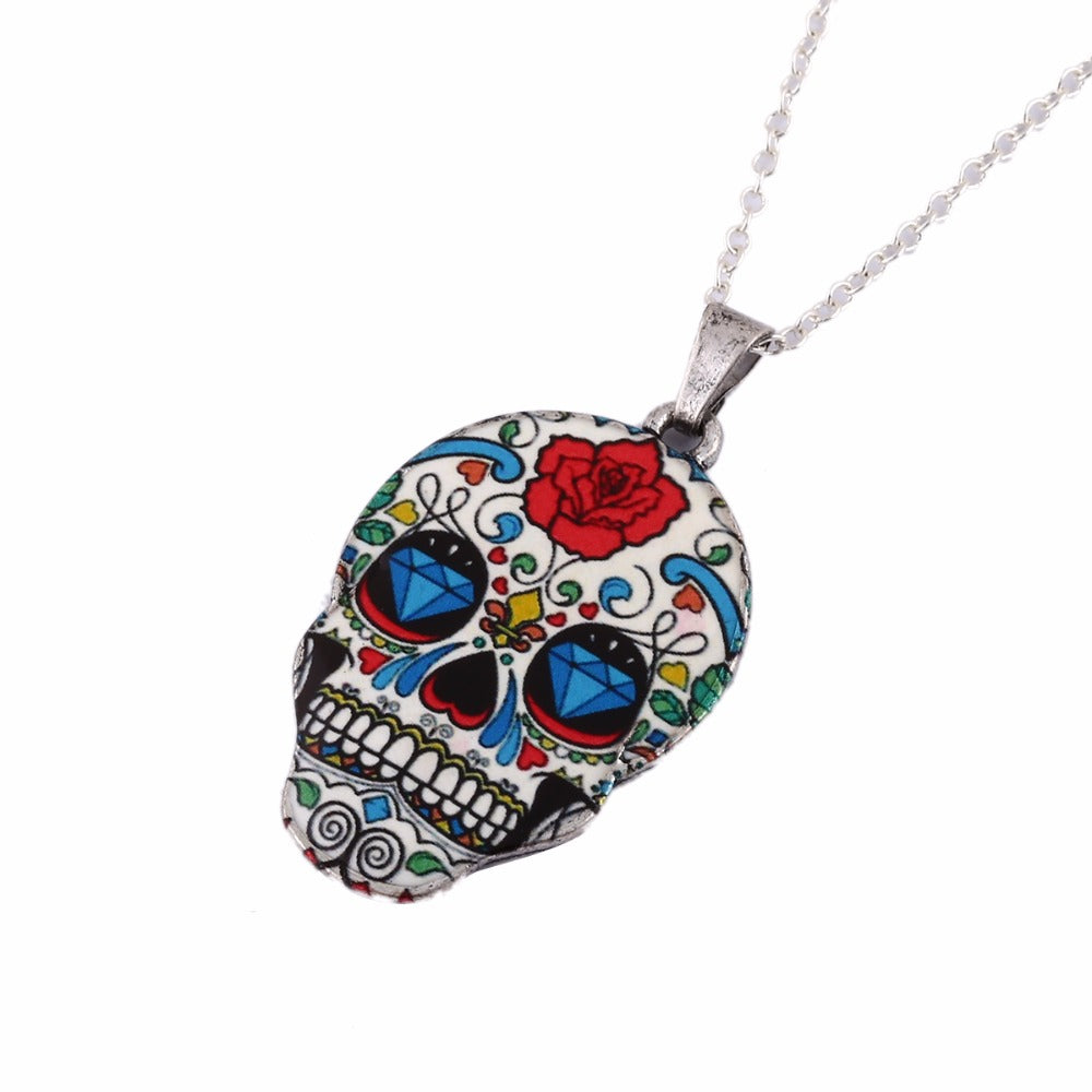 Colorful Skull Rose Necklace - The Creative Booth