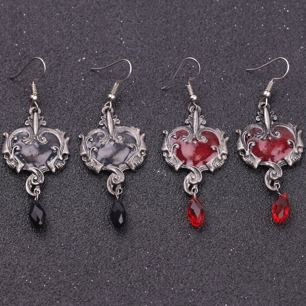 Retro Skull Heart Earrings