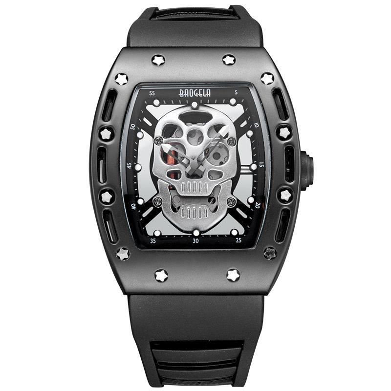 Luminous Black Silicon Strap Army Skull Watch