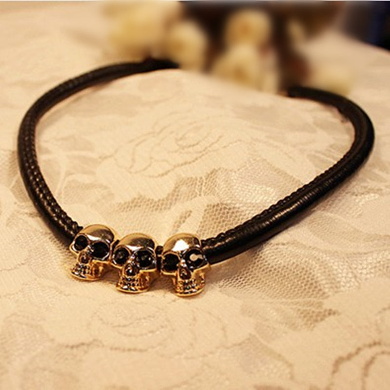 Black Leather Skull Choker Necklace - 30% OFF + FREE SHIPPING! - The Creative Booth