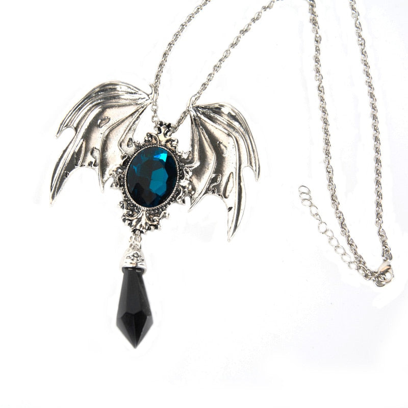 Black Crystal Devil Wings Gothic Necklace - The Creative Booth