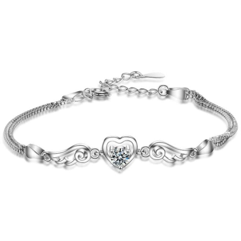 Angel Wings Sparkling Stone Heart Bracelet Bundle - Get 3 at 65% OFF + FREE Shipping! - The Creative Booth