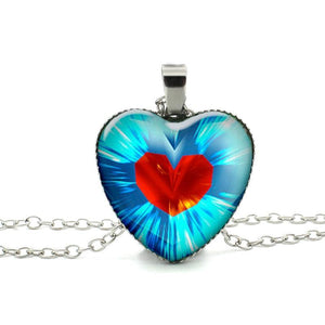 Glass Dome Heart in a Heart Necklace - 65% Off