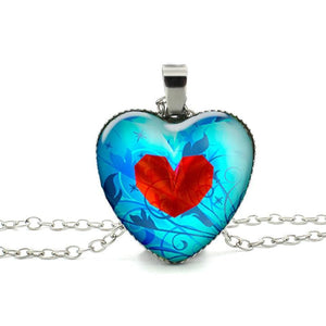 Glass Dome Heart in a Heart Necklace