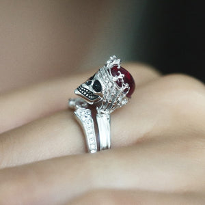 FREE! Vintage Crystal Red Skull Crown Ring - The Creative Booth