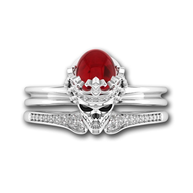 Vintage Crystal Red Skull Crown Ring