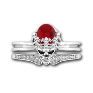 Vintage Crystal Red Skull Crown Ring - 65% Off