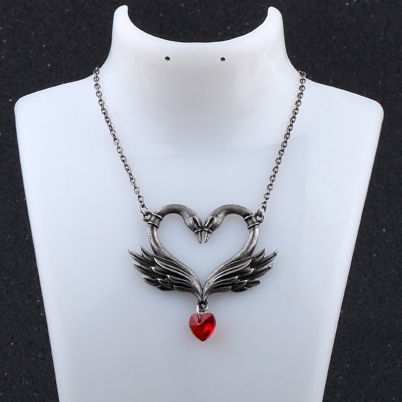 Vintage Swan Crystal Heart Bead Necklace