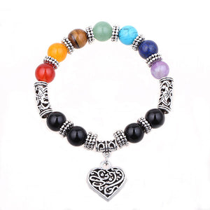 Heart Pendant Chakra Bracelet - The Creative Booth