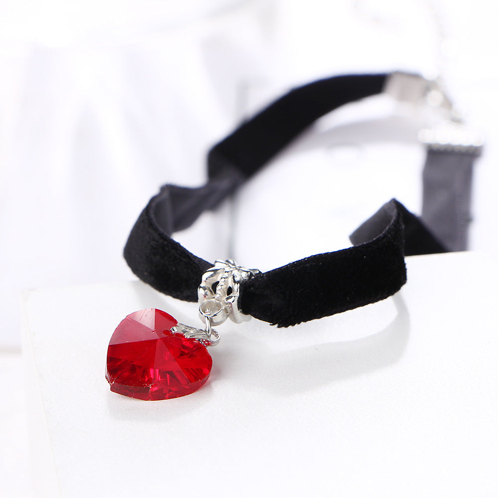 Black Velvet Crystal Heart Choker Necklace - 65% Off - The Creative Booth