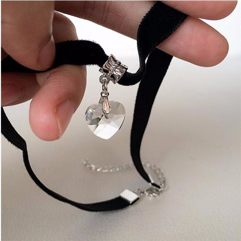 Black Velvet Crystal Heart Choker Necklace - The Creative Booth