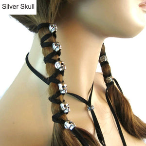 FREE! Black Leather Skull Long Ponytail - The Creative Booth