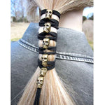 Black Leather Skull Long Ponytail - The Creative Booth